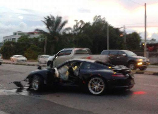 The Porsche Which Rammed A Motorcycle On Jalan Tun Abang Haji Openg, Sibu.  A 50 Year Old Man On His Way To Sibu Town Was Killed When His Motorcycle  Was ...