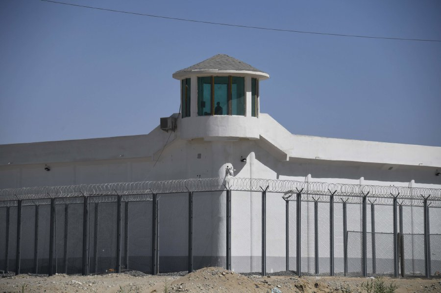 A watchtower this spring at a high-security facility near what is believed to be a re-education camp on the outskirts of Hotan, in the Xinjiang region of China. Pic courtesy of New York Times /CreditCreditGreg Baker/Agence France-Presse — Getty Images