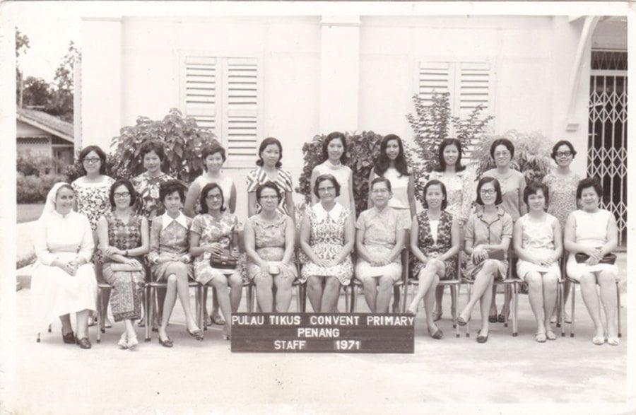 Pulau Tikus Convent Primary School staff photograph taken in 1971.