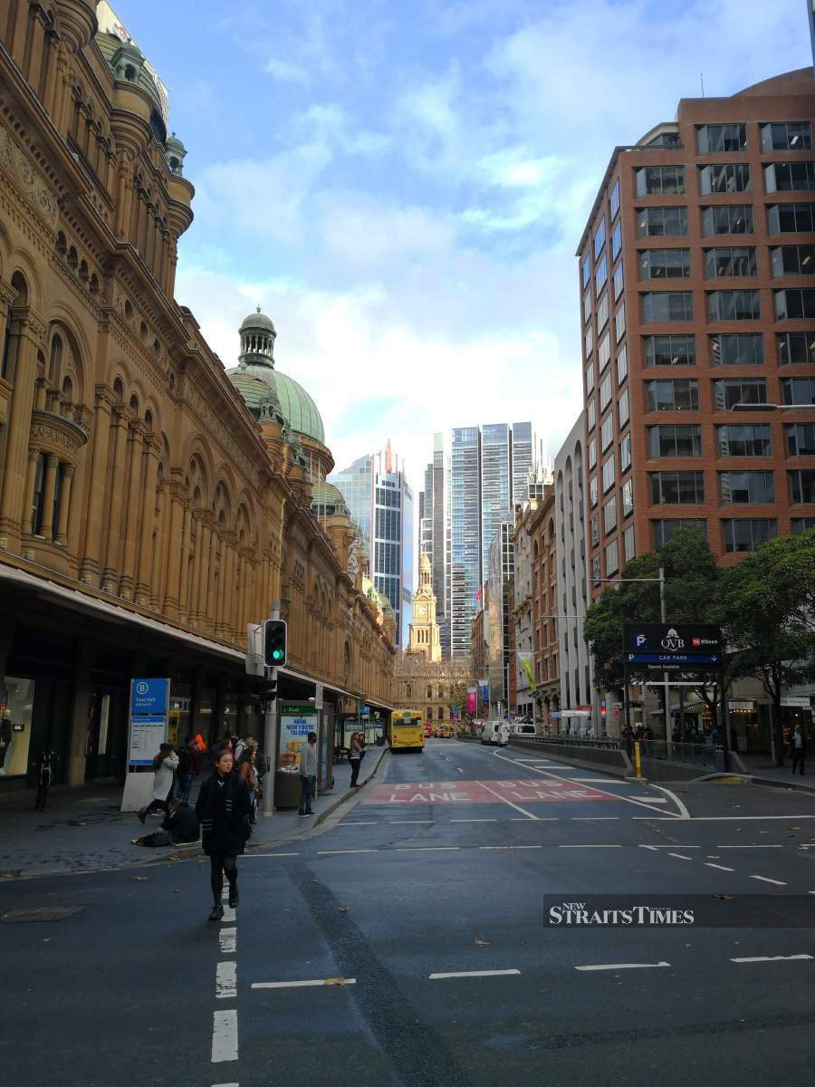 The QVB occupies an entire city block in downtown Sydney.