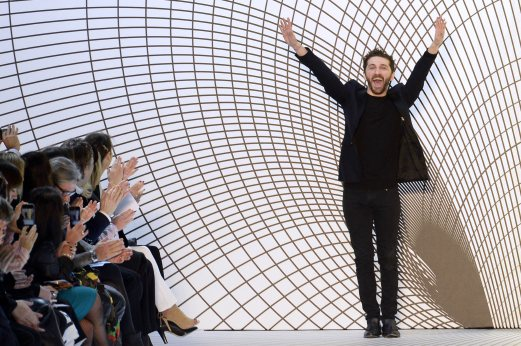 Georgian-born fashion designer David Koma for Mugler acknowledges the audience at the end of the 2015-2016 fall/winter ready-to-wear collection fashion show in Paris. AFP PHOTO