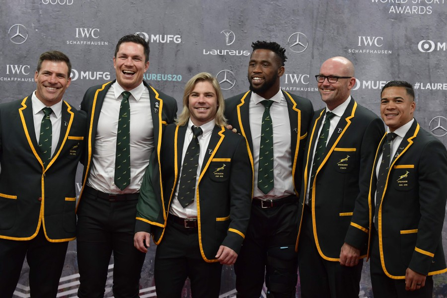 South Africa Men's Rugby Team poses on the red carpet prior to the 2020 Laureus World Sports Awards ceremony in Berlin. -AFP