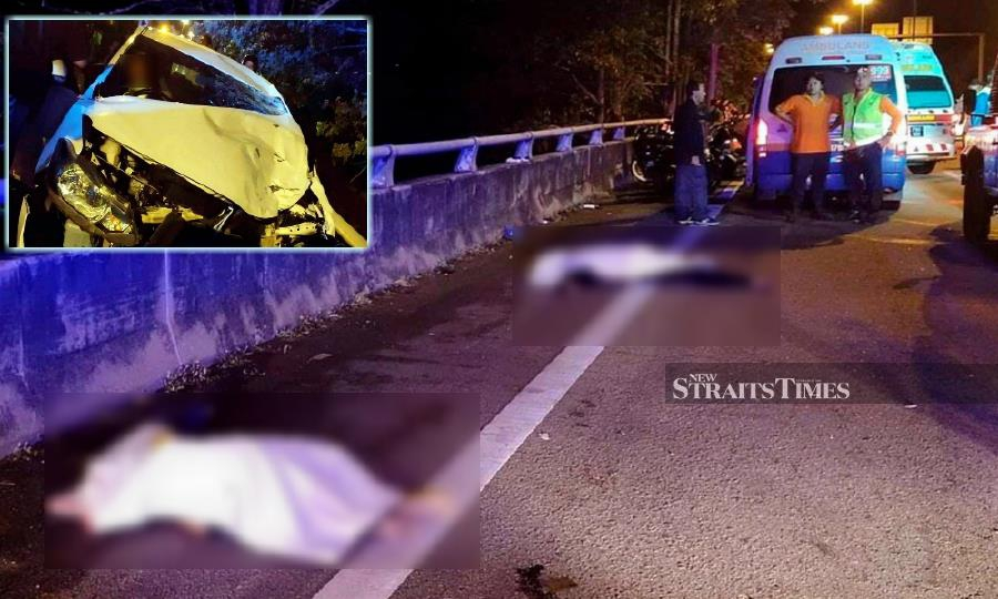 Two youths were killed when the motorcycle they were on was rear-ended by a car (inset) at Km13 of the Butterworth Outer Ring Road (BORR), heading towards Sungai Dua in Penang.