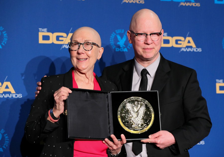 Outstanding Directorial Achievement in Documentary winners Julia Reichert and Steven Bognar pose in the press room during the 72nd Annual Directors Guild of America Awards at the Ritz Carlton Hotel in Los Angeles. -AFP