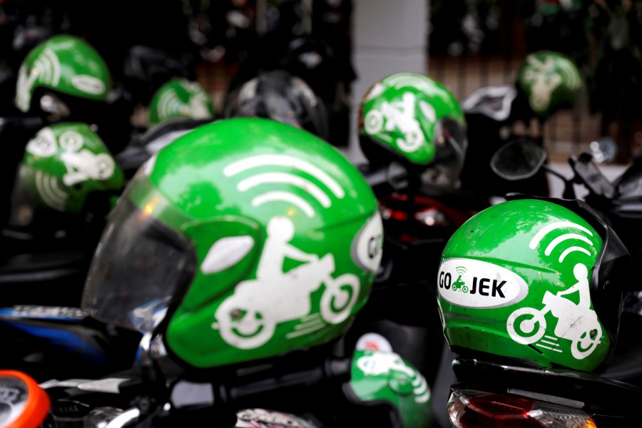 Gojek driver helmets are seen during Go-Food festival in Jakarta, Indonesia, in this file pic dated October 27, 2018. - REUTERS pic