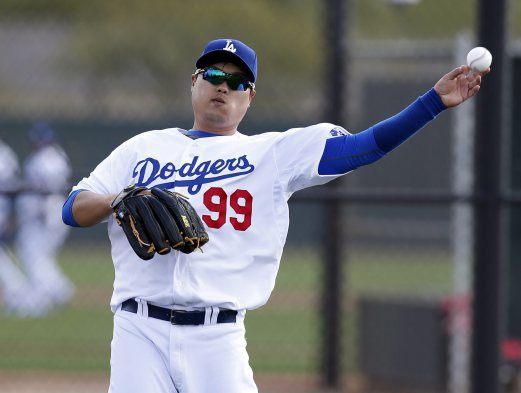 Los Angeles Dodgers starting pitcher Hyun-Jin Ryu (99) throws to first base during camp at Camelback Ranch. Rick Scuteri-USA TODAY Sports/ Reuters