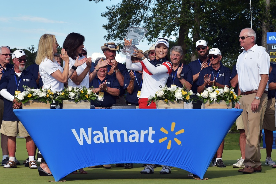 Ryu So-Yeon of South Korea displays the trophy after winning the Walmart NW Arkansas Championship Presented by P&G in Rogers, Arkansas. AFP