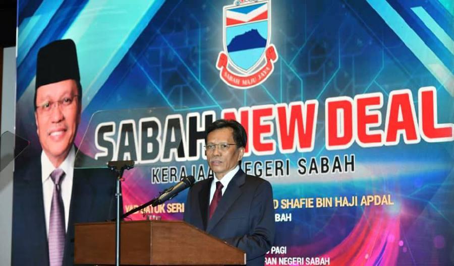 Sabah Chief Minister Datuk Seri Mohd Shafie Apdal launches the Sabah New Deal in Kota Kinabalu. - Pic source: Facebook/shafieapdalofficial