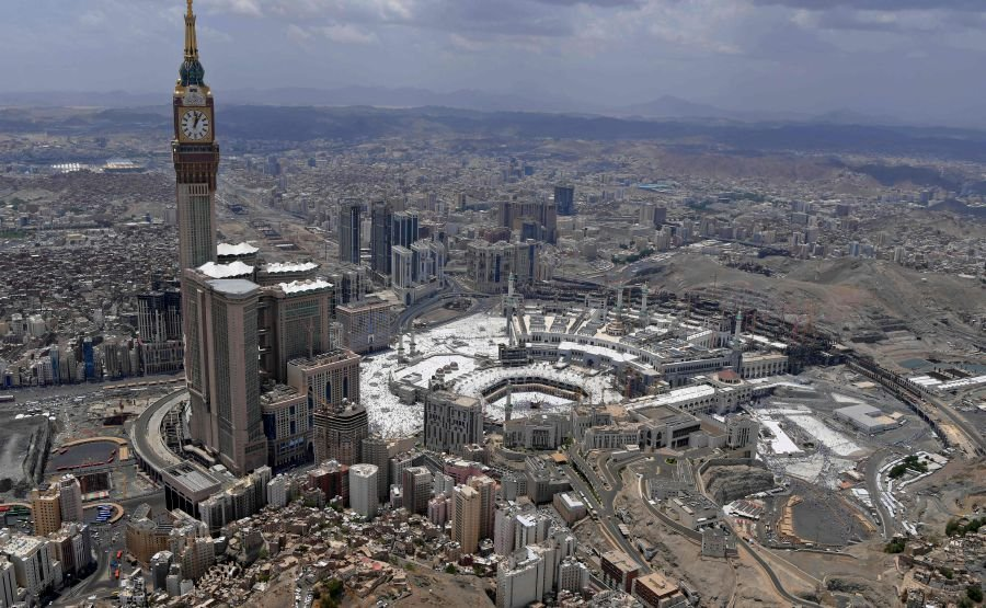 This picture taken on August 12, 2019 shows an aerial view of the Kaabah, Islam's holiest shrine, its encompassing Grand Mosque, and the Abraj al-Bait Makkah Royal Clock Tower. AFP pic