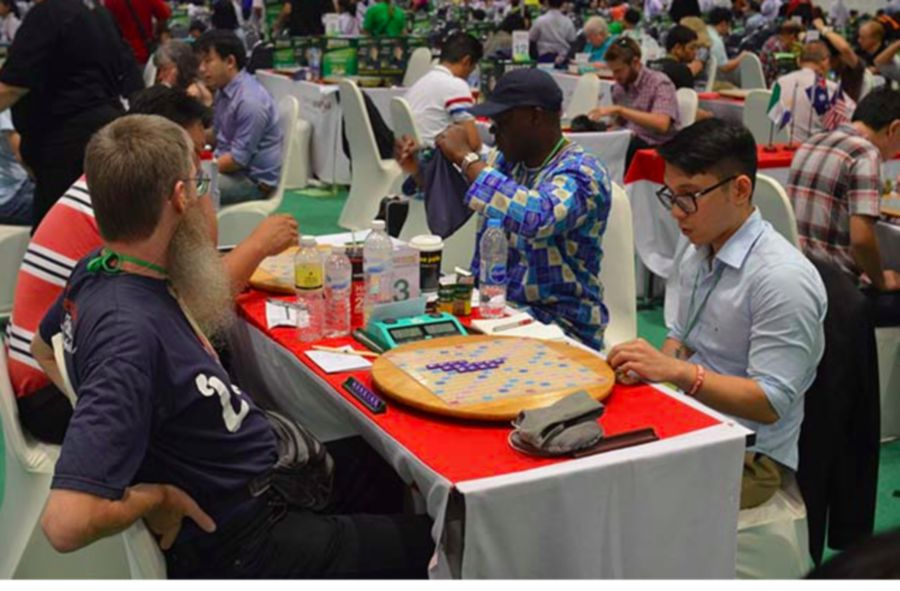 Playing against Nigel Richards, reigning World No. 1 Scrabble player.
