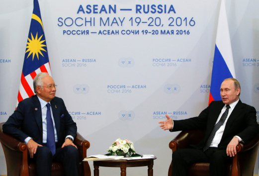 Prime Minister Datuk Seri Najib Razak (left) said the country's stand on the tragedy was conveyed to Russian President Vladimir Putin during his bilateral meeting with the latter, earlier today.. Reuters photo.