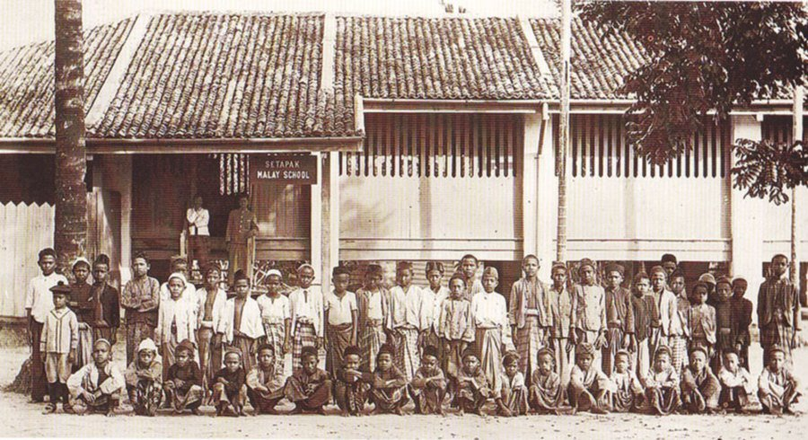 An early photograph of the Setapak Malay School taken in 1908.