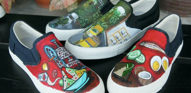 Art on shoes: Two friends turn canvas footwear into works of art