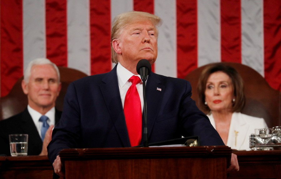 trump at the state of union address in congress