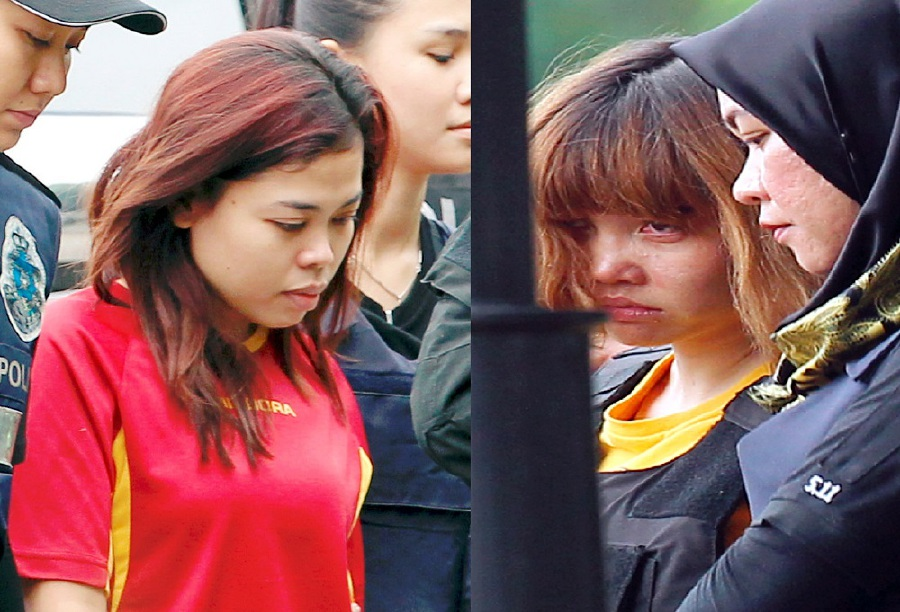 (File pix) The two women charged with killing Kim Jong-nam – Indonesian Siti Aisyah, 25 (second from left) and Vietnamese Doan Thi Huong, 28 (second from right). Pix by Ahmad Irham Mohd Noor