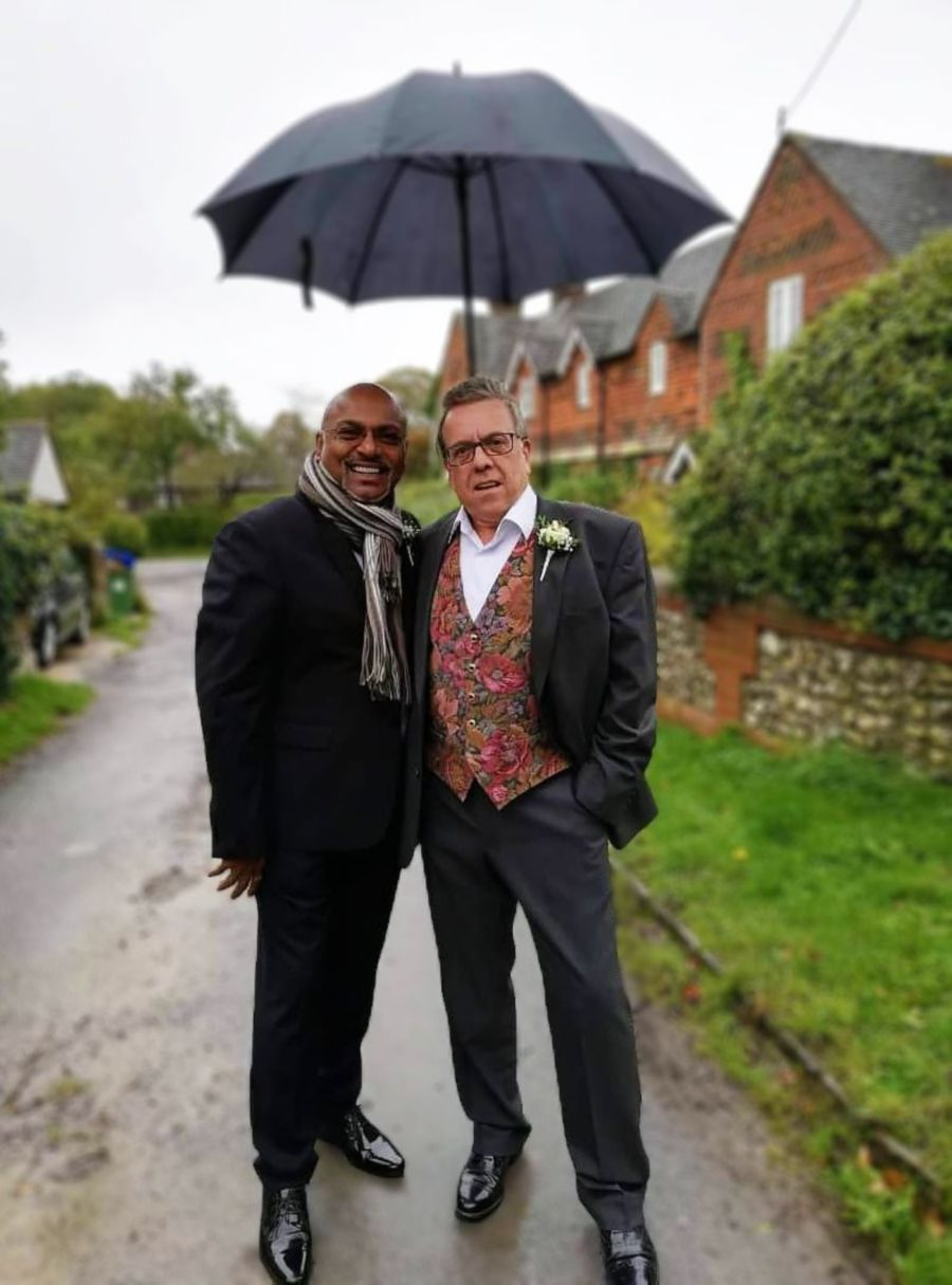 The writer (left) with his friend Martin Driver.