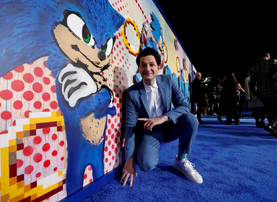 "Cast member Ben Schwartz poses at the premiere of ""Sonic the Hedgehog"" in Los Angeles, California. -Reuters"