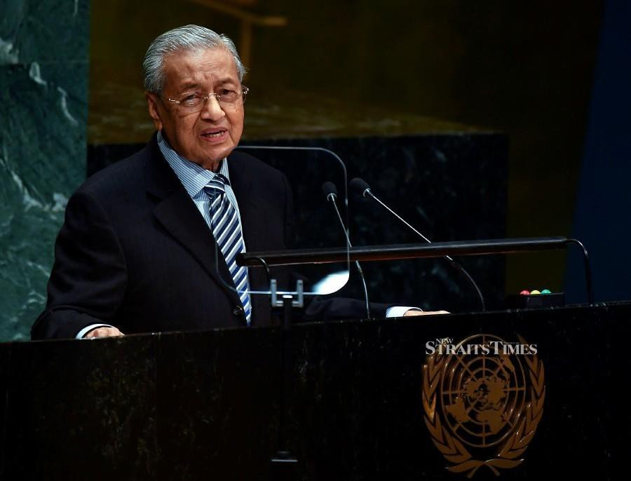 Malaysian Prime Minister Tun Dr Mahathir Mohamad delivering his statement at the General Debate of the 74th Session of the United Nations General Assembly at the UN headquarters here on Friday. (BERNAMA)