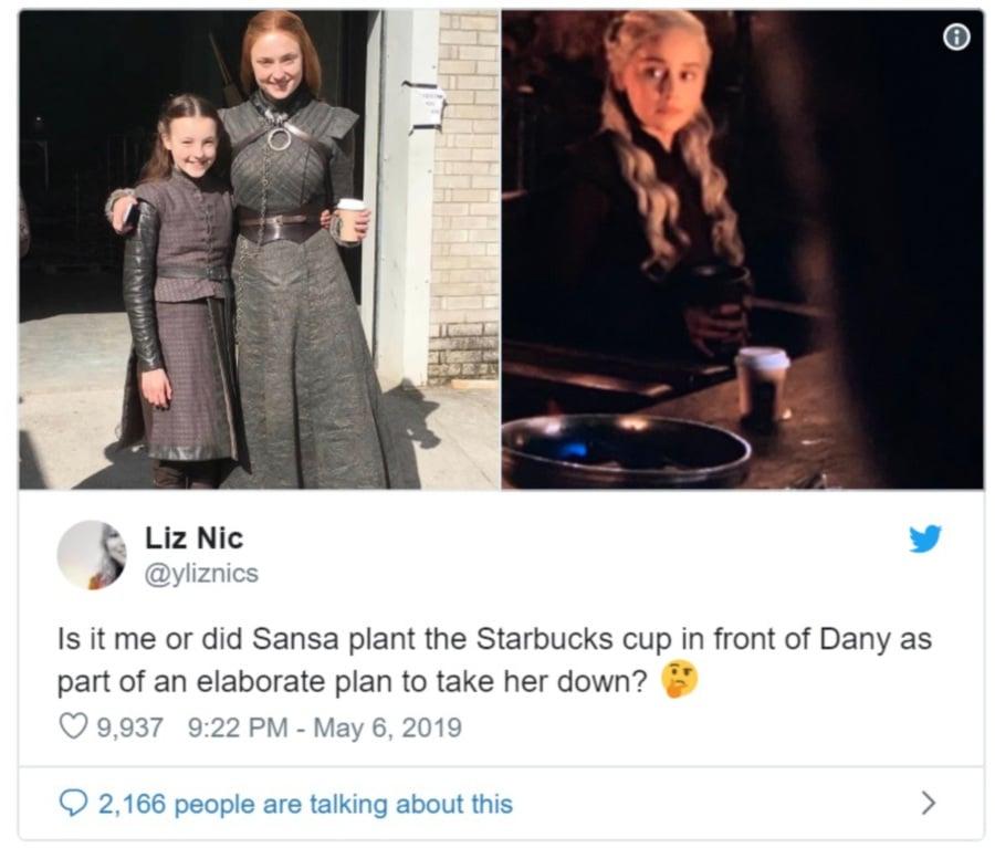 Oops! Starbucks cup appears in Game of Thrones scene