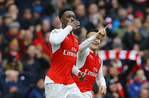 Danny Welbeck celebrates scoring the second goal for Arsenal. Reuters photo