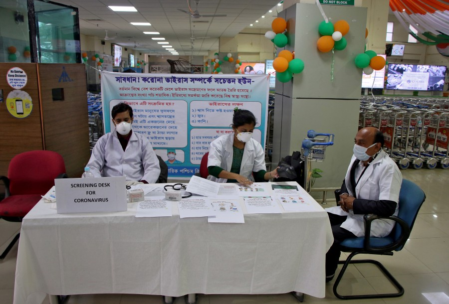 A health desk is set up to screen travelers for signs of the coronavirus at Maharaja Bir Bikram Airport in Agartala, India, January 31. -REUTERS/File pic
