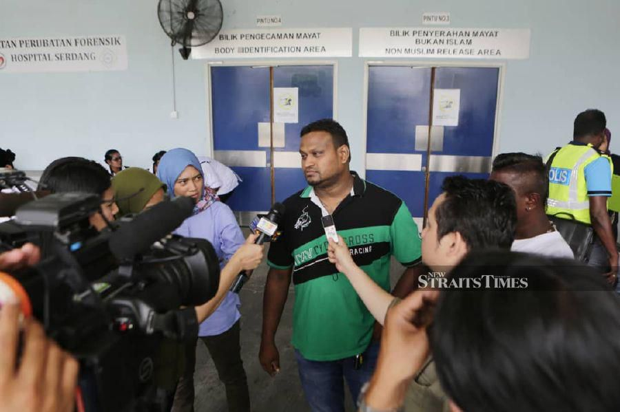 Suresh's brother-in-law, Sathiaseelan said 'He did not show any changes (in behaviour), He only told me he had to go to work before leaving'.When met at the Serdang Hospital's Forensics Department. NSTP/AIZUDDIN SAAD