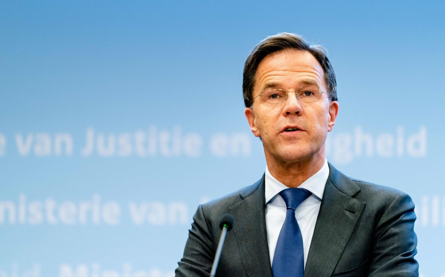 Dutch Prime Minister Mark Rutte speaks during a press conference at the Ministry of Security and Justice in the Hague, the Netherlands, after a meeting with the Ministerial Crisis Management Committee on the outbreak of the COVID-19 caused by the coronavirus. -AFP pic