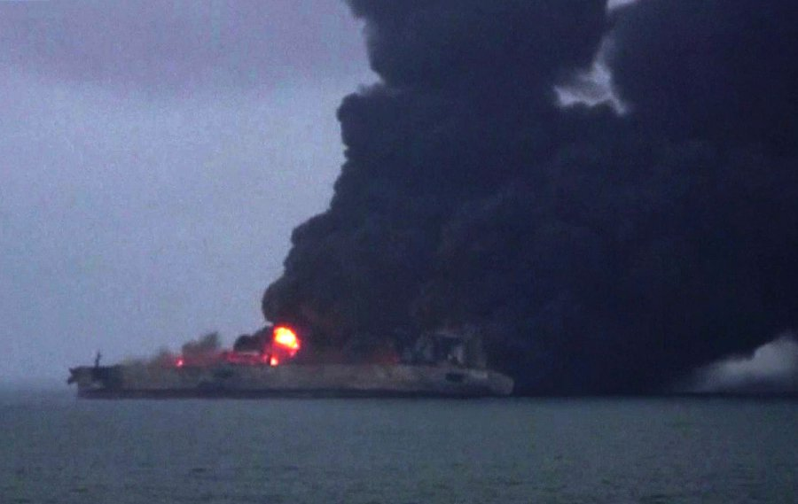 Authorities say explosion risk for Iranian oil tanker ablaze off China coast