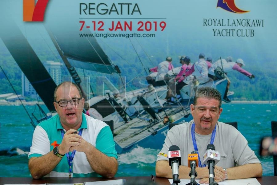 Director of Regatta, Tayfun Koksal (right) and Chairperson of Regatta Role Officer, Simon James during the 17th media session of the Langkawi Regaja Langkawi Regatta Championship at the Royal Langkawi Yacht Club, Kuah. (NSTP/LUQMAN HAKIM ZUBIR)