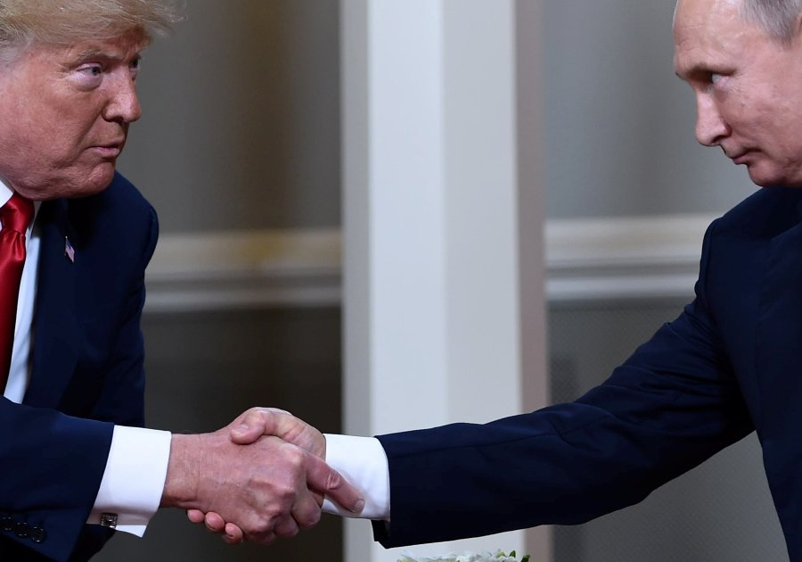 In this file photo, US President Donald Trump and Russian President Vladimir Putin shake hands ahead a meeting in Helsinki. - US President Donald Trump said June 12, 2019 he would meet his Russian counterpart Vladimir Putin on the sidelines of the G20 summit in Japan later this month.-AFP