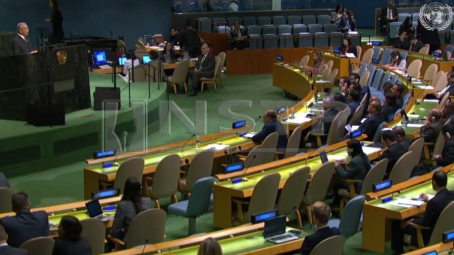 Malaysia's Prime Minister Tun Dr Mahathir Mohamad speak during the General Debate of the 73rd session of the General Assembly at the United Nations in New York. NSTP/Video Grab UNWeb TV