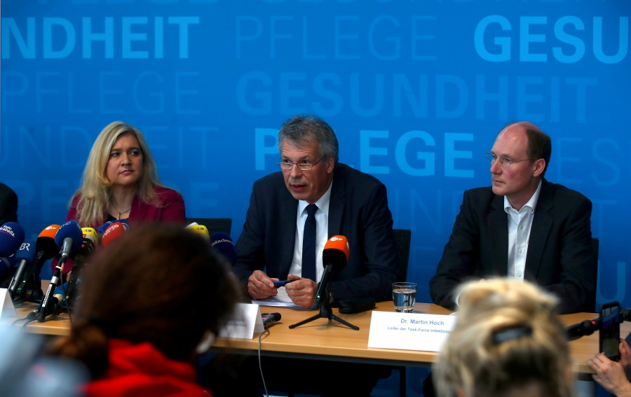 Bavarian state minister for health and nursing Melanie Huml, President of the Bavarian state office for health and food safety Dr. Andreas Zapf and Bavarian head of the task force of infectious diseases Dr. Martin Hoch address a news conference, after Germany has declared its first confirmed case of the coronavirus that broke out in China, in Munich, Germany. -Reuters