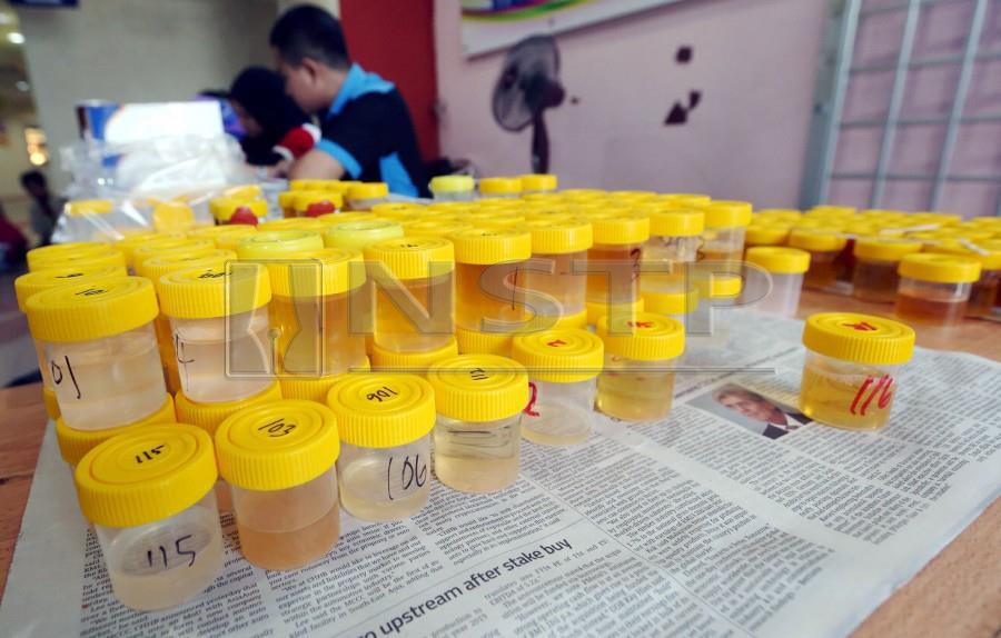 This file pic dated Oct 26, 2018, shows urine samples taken from suspected drug abusers during a raid by National Anti-Drugs Agency (Nada) in Perak. - NSTP/MUHAIZAN YAHYA