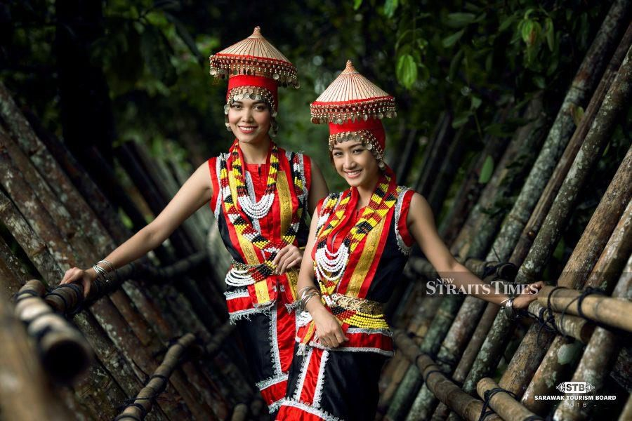 Bidayuh ladies in their traditional costume.