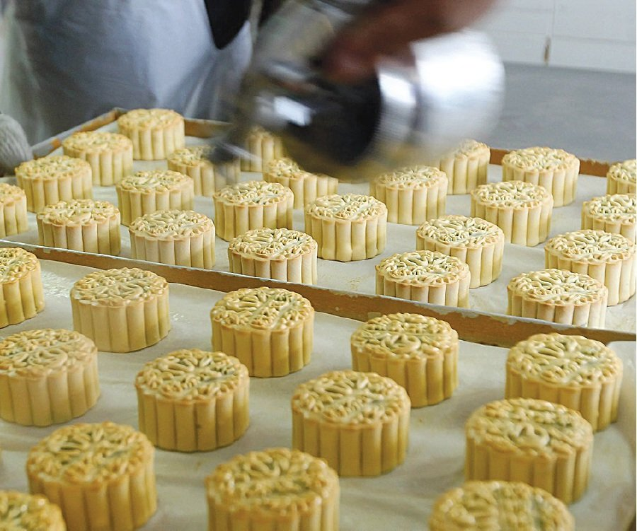 Perfectly shaped mooncakes.