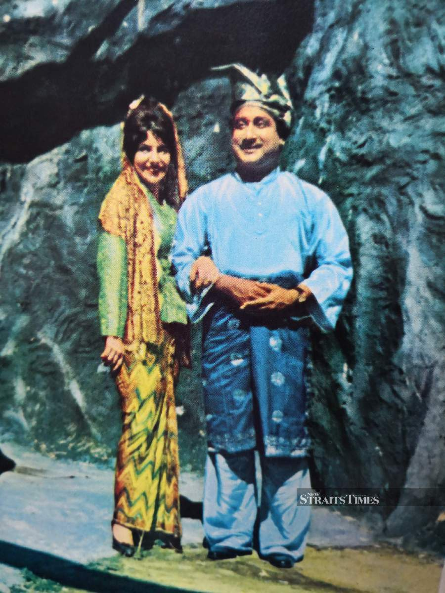 Tamil actor Shivaji Ganesan and actress Yvonne Berger in full Malay costume while filming the movie Foreign Bride at the Shaw Brothers Malay Film Production studios at Jalan Ampas, Singapore.