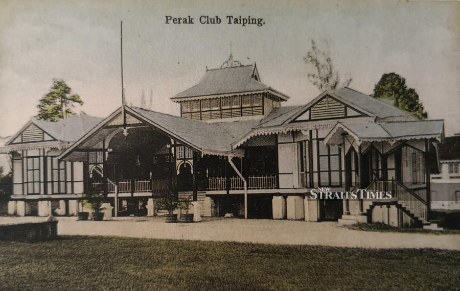 The Perak Club in Taiping as featured in an vintage picture postcard.
