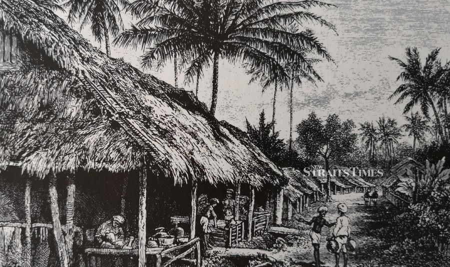 A Kuala Kangsar street scene in the 1870s.