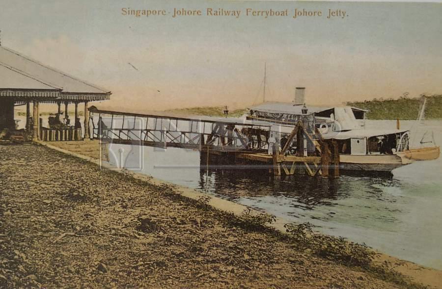 The specially designated Singapore-Johor Railway Ferry Boat jetty in 1909.