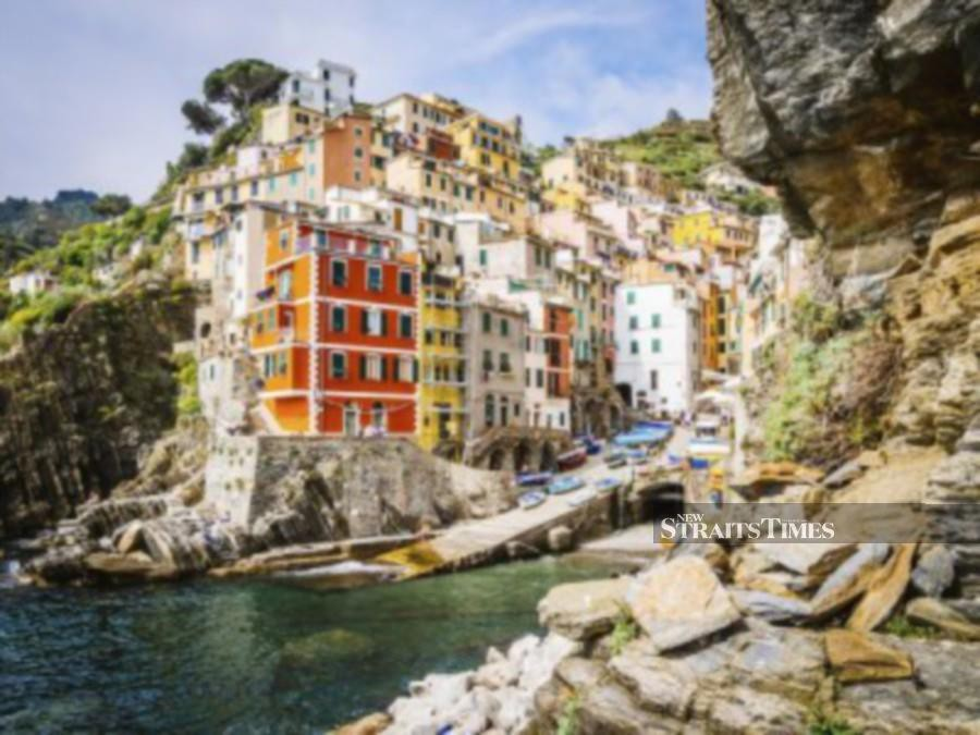 A view of Riomaggiore, one of the villages the Cinque Terre in Italy.