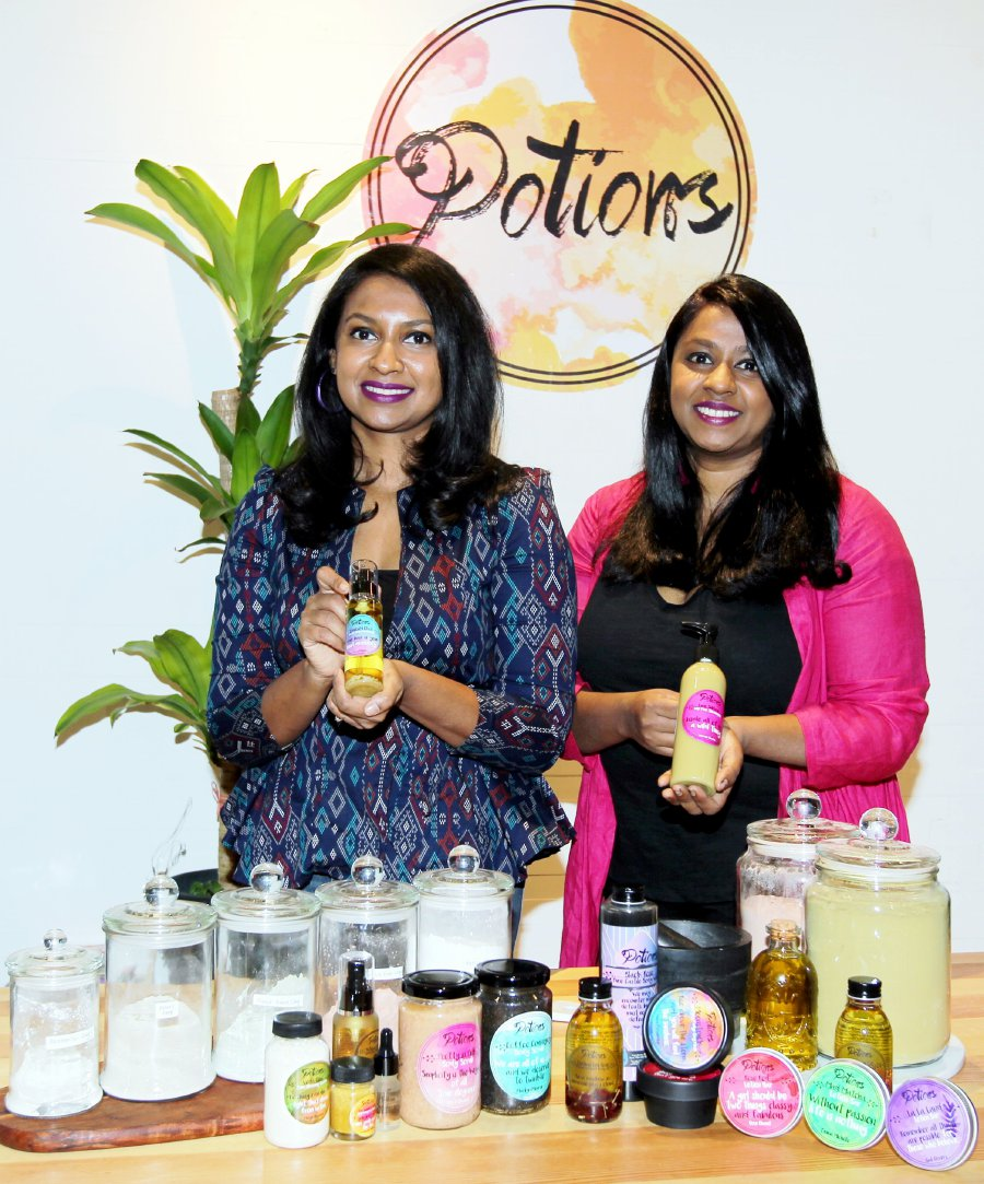 Sharmila (left) and Sharmini are going back to their roots to make skincare products for the modern consumer.