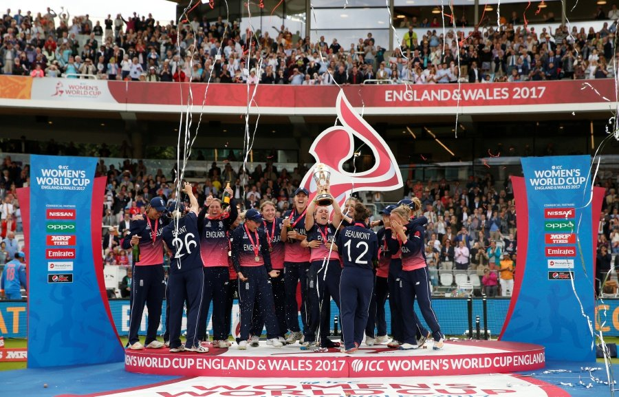 England won their fourth Women's World Cup when Anya Shrubsole took six wickets to clinch a nine-run victory over India amid delirious scenes at a packed Lord's on Sunday. REUTERS pic