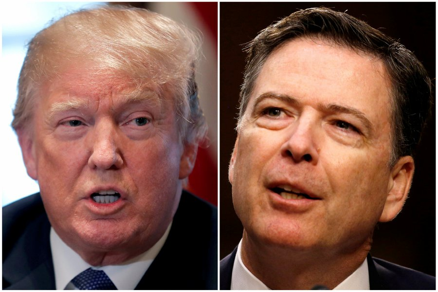A combination of file photos show U.S. President Donald Trump in the White House in Washington, DC, U.S. and former FBI Director James Comey. — REUTERS pic