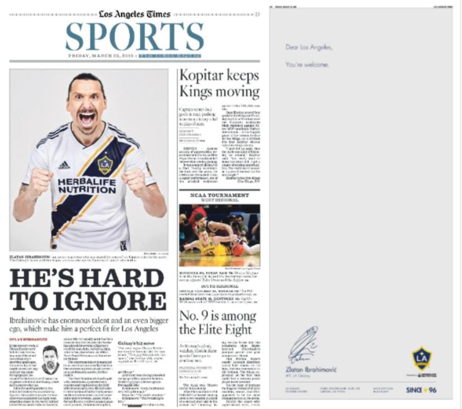 Los Angeles Times: Ibrahimovic, Los Angeles Galaxy Confirm MLS Move